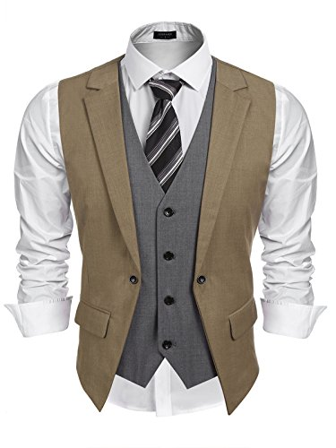 Coofandy Mens Formal Fashion Layered Vest Waistcoat Dress Vest (S, Khaki)