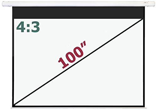 Luxburg® Pantalla de proyección a motorizada 203x152 cm (Diagonal aprox. 100' pulgadas / 254 cm) Pantalla eléctrica para proyector de alta definición, Full HD 3D, con mando a distancia – para montaje en el techo/ pared, panta