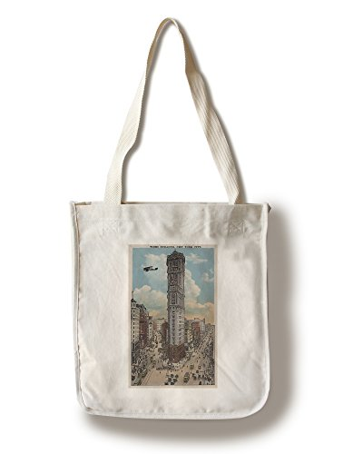 Lantern Press New York, NY - Times Building and Biplane (100% Cotton Tote Bag - Reusable) - New York Times Building Ny
