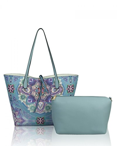 LeahWard? Women's Large Shoulder Shopper Bags Handbag For School College Holiday QUAY BLUE FLORAL 2 IN 1