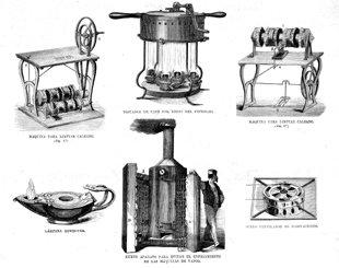 Grabado antiguo (1875) - Xilografía - Inventos.- Máquinas Para Limpiar Zapatos,
