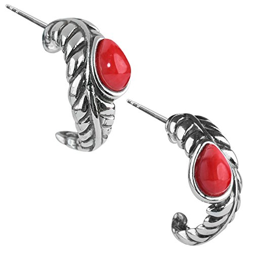 Red Sea Bamboo Ring - American West Sterling Silver Red Sea Bamboo Leaf Hoop Earrings
