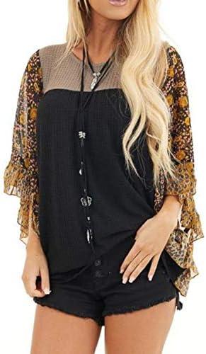Damska casual, modna koszulka z długim rękawem, patchwork, luźna koszulka na co dzień.: Odzież