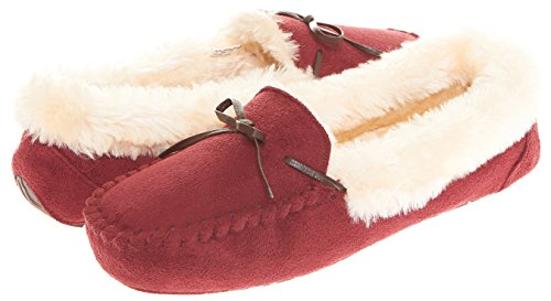 Collar Brown Indoor Slipper 307 Memory Foam Lined Wine Outdoor W Faux Laced Womens Fur Floopi Moccasin 0wqaY55