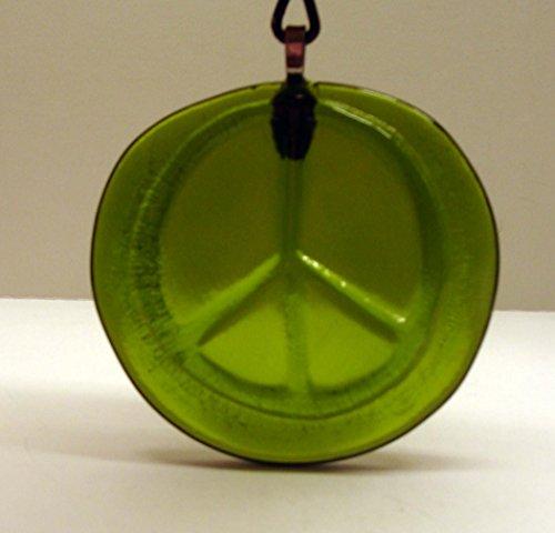 Peace Sign Moss Green Recycled Wine Bottle Bottom Handmade Sun Catcher