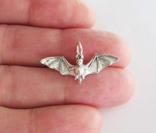 Sterling Silver Bat Charm - Jewelry Accessories Key Chain Bracelet Necklace Pendants (Bat Charms Pendants)