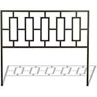 Miami Metal Headboard with Squared Tubing and Geometric Design, Coffee Finish, King