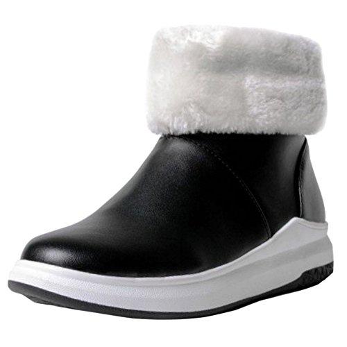 Asian 36 Boots Warm Black Size Coolcept Winter Lined Women Flatform Short nzWAq16vq