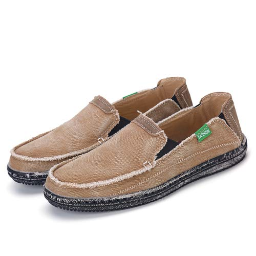 HAHUTG& Men Jeans Canvas Shoes Plus Size 39-45 Breathable Men Summer Slip On Flats Casual Driving Loafers Brown 6.5