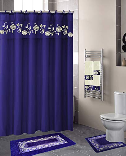 Luxury Home Collection 18 Pc Bath Rug Set Embroidery Non-Slip Bathroom Rug Mats and Rug Contour and Shower Curtain and Towels and Rings Hooks and Towels New (Royal Blue Nancy)