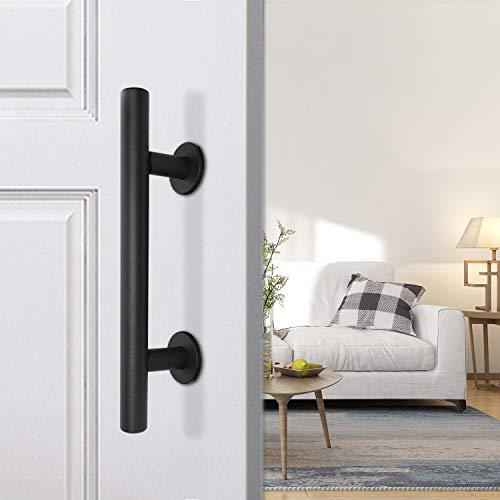 (Barn Door Handle Pull and Flush Barn Door Handle Set in Black Barn Door Hardware Handle Gate Handles for Wooden Fences Garages Sheds Furniture. )