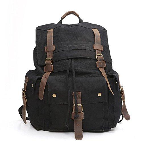 ZC&J Bolso de hombro retro de la lona de los hombres, estilo continental, bolso de estudiante de la capacidad grande de 29 L, bolso al aire libre del senderismo del alpinismo,C,29L B