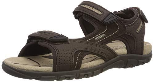 Geox Men's Strada 28 Touring Sandal Sport, Brown/Sand, 44 Medium EU (11 US)