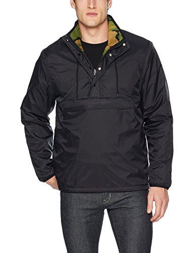 Zip 1/4 Jacket Reversible (HUF Men's Kumo Reversible 1/4 Zip Jacket, Black, S)