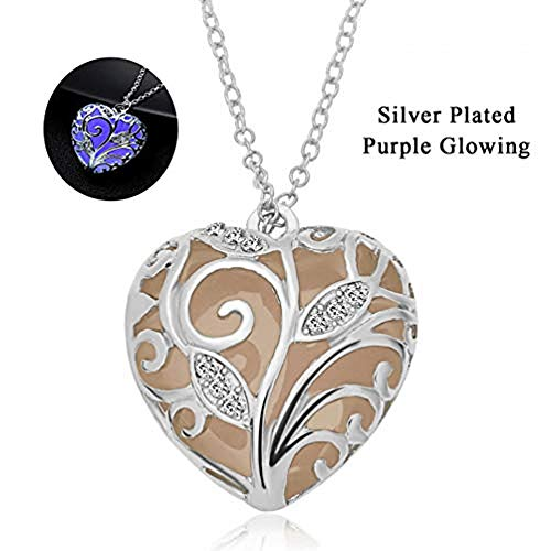 (RINHOO Steampunk Magical Fairy Glow in The Dark Heart Charms Pendant Necklace White Gold Plated (Purple Set) )