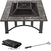 """Pure Garden 33"""" Square Fire Pit and..."""