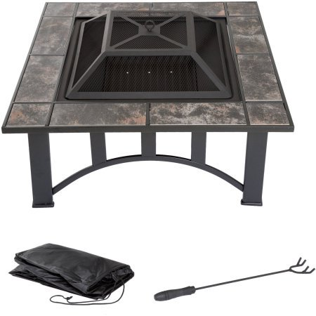 "Pure Garden 33"" Square Fire Pit and Table with Cover, Black"