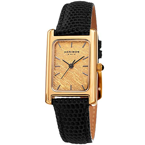 3 Hand Small Watch - Akribos XXIV Leather Women's Watch – Small Rectangular Case, Genuine Gold Leaf Dial, Lizard Black Skinny Strap, Three Hand Quartz Movement – AK1046BK