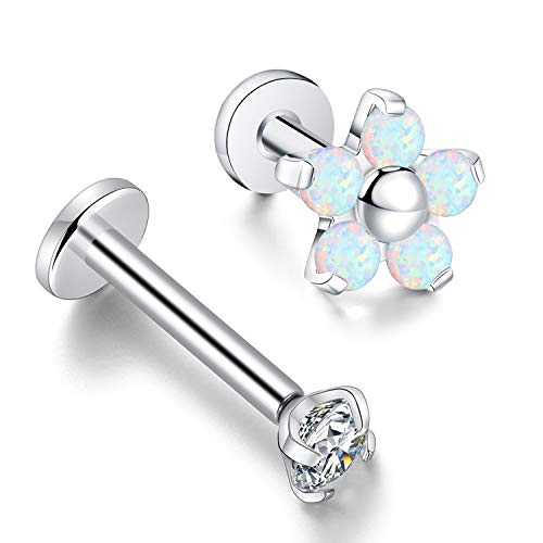 (GAGABODY G23 Titanium 16G Cartilage Studs Opla Flower Prong Set Helix Tragus (6mm Flower&8mm Stud))