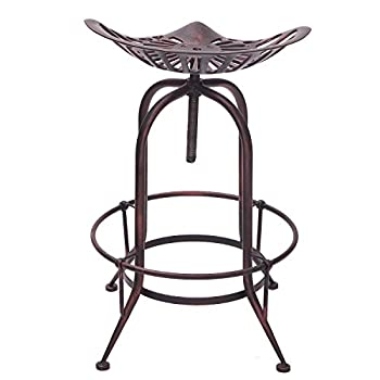 Adeco Tractor Seat Antique Metal Farmhouse Adjustable Stool, Rustic Bronze