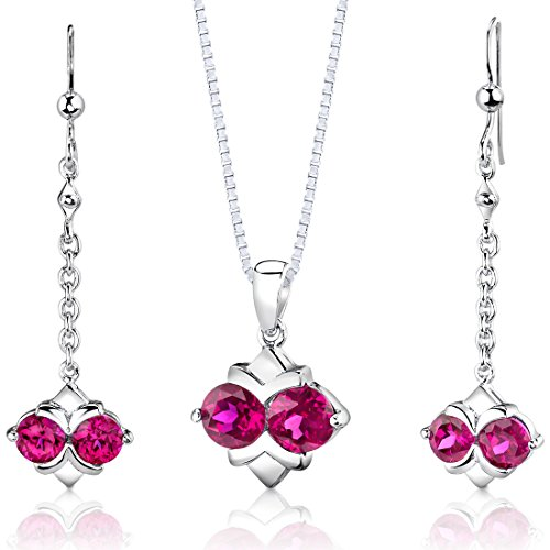 Sterling Silver Rhodium Nickel Finish Round Shape Created Ruby Pendant Earrings and 18 inch Necklace Set