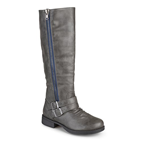 Journee Collection Womens Regular Wide-Calf and Extra Wide Calf Side Zip Buckle Knee-High Riding Boots (8.5 Extra Wide Calf, Grey) (Extra Knee Boots Wide Calf High)