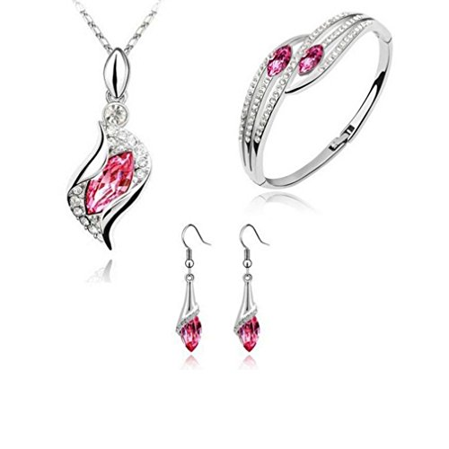 iLH Clearance Deals Necklace+Earrings+Bracelet Jewelry Set Womens Mixed Style Bohemia Color Bib Chain Necklace Bracelet Earrings Jewelry by ZYooh (Hot Pink)