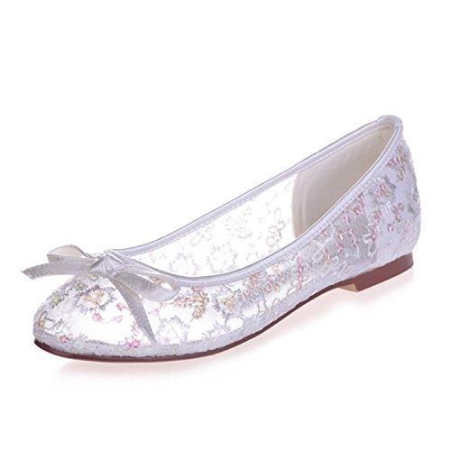 Fanciest Women's Lace Bridal Wedding Party Evening Sequin Ballet Flats Pump Shoes 9872-24 White cMRvId