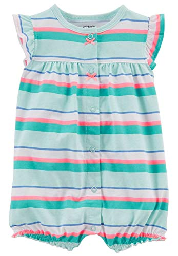 Carter's Baby Girls Snap-up Cotton Romper (Crab (3 Months) Turquoise