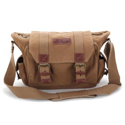 MOACC BBK Series DSLR Slr Camera Canvas Shoulder Bag Backpack Rucksack Bag for Sony Canon Nikon Olympus etc.–BBK1(35*14*24cm 13.8″*5.5″*9.5″)Khaki, Best Gadgets