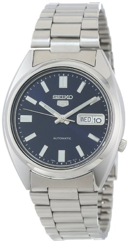 Seiko Men's SNXS77 Seiko 5 Automatic Blue Dial Stainless-Steel Bracelet Watch - Mens Automatic Blue Dial