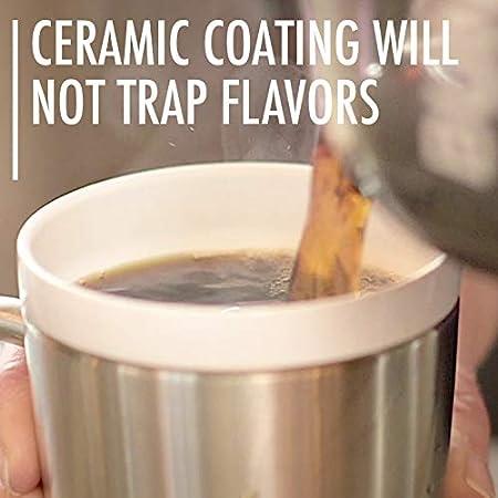 BPA Free Vacuum Insulated CeramiSteel 9 ounce Wine Glass Ceramic Coated Stainless Steel Tumbler Black Powder Coat Finish