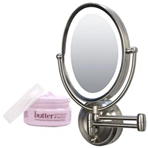 Zadro LEDOVLW410 LED Oval Wall Mounted Makeup Mirror and Cuccio Body Butter  Kit