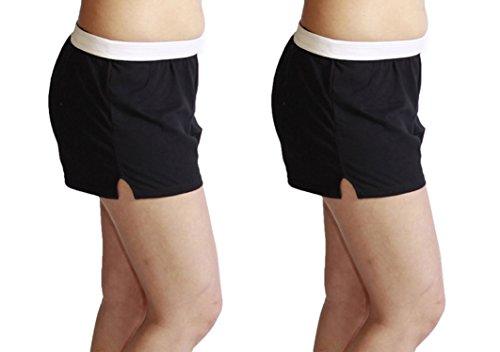 Jerzees Juniors Pack of 2 Womens Gym/Running/Yoga/Cheer Shorts (S, Black 2-Pack) ()