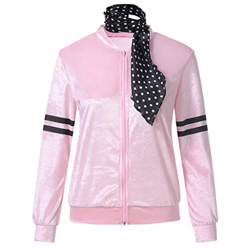Creazrise 1950s Pink Satin Jacket with Neck Scarf Girls Women Halloween Costume Fancy Dress Props (Pink,XXXL) ()