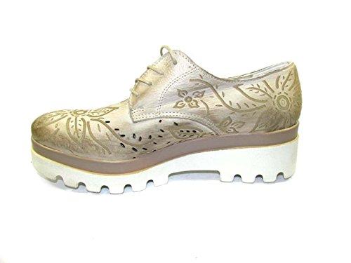 de Piel mujer cordones de Beige para PERICOLI Zapatos OSVALDO TqZvFq