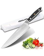 Grilljoy Professional kockkniv med lyxhandtag i förvaringsfodral - 9Cr18 rostfritt stål kökskniv för matlagningsgåva - Full Tang Razor Sharp Blade för huggning, skärning och skärning