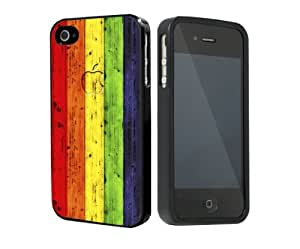 linJUN FENGLgbt Colorful Rainbow Gay Pride Rubber Silicone TPU Cell Phone Case Cover (iPhone 4 4s)