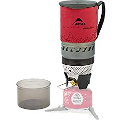 MSR WindBurner Stove System for Fast Boiling Fuel-Efficient Cooking for Backpacking, Solo Travelers, and Minimalist Trips, 1.0-Liter, Red