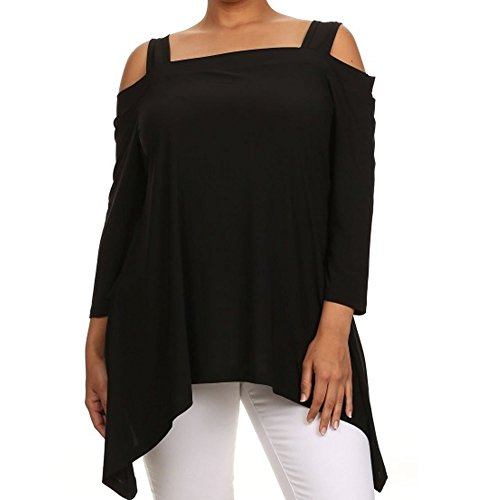Avital Cold Shoulder Trapeze Top, Black, 3X-Large