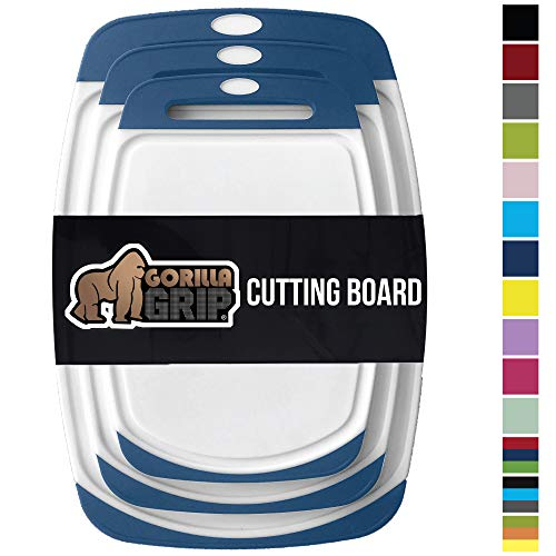 GORILLA GRIP Original Reversible Cutting Board, 3 Piece, BPA Free, Dishwasher Safe, Juice Grooves, Larger Thicker Boards, Easy Grip Handle, Non Porous, Extra Large, Kitchen, Set of 3, Blue