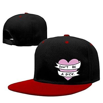 Dont Be A Dick Heart Solid Flat Bill Snapback Baseball Cap Hip Hop Unisex Custom Hat.