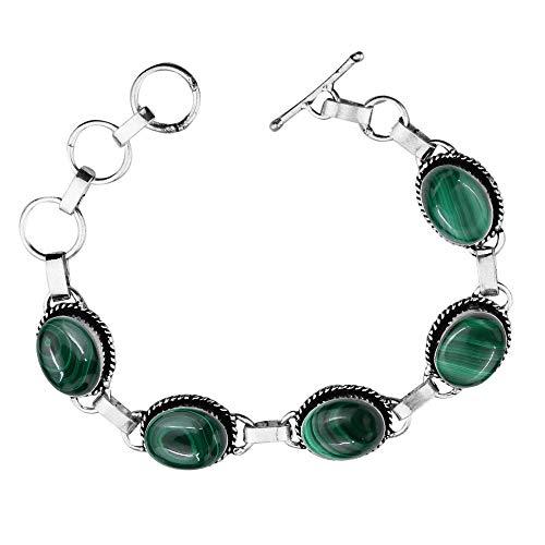 Genuine Oval Shape Malachite Link Five Stone Bracelet 925 Silver Overlay Handmade Vintage Bohemian Style Jewelry for Women Girls