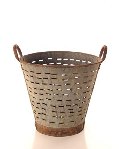 Olive Bucket,Vintage,Large,16 inch, Authentic Found Olive Basket,Indoor Outdoor Rustic Flower Pot,Farmhouse Decor, Front Door Porch and Patio Planter (Metal Sale Small For Buckets)