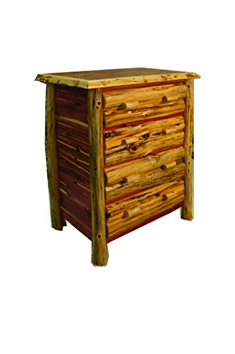 (Rustic Red Cedar Log 4 Drawer Chest- Amish Made in the)