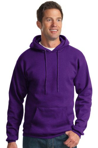 Port & Company Men's Ultimate Pullover Hooded Sweatshirt M Purple