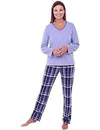 Womens Fleece Pajamas, Long V-Neck PJ Set