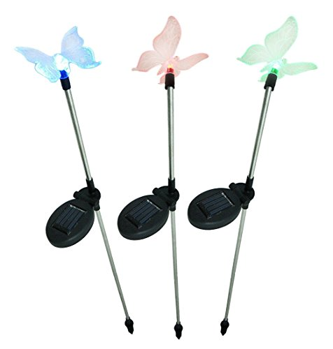 Set of 3 Solar Color Changing LED Butterfly Garden Stakes