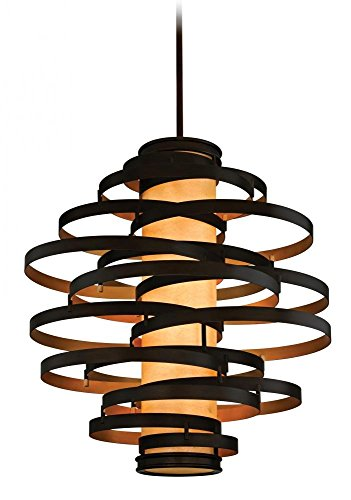Lighting Bronze Corbett (Corbett Lighting 113-76-F Vertigo Six Light Pendant with Caramel Ice Glass, Bronze with Gold Leaf Finish)