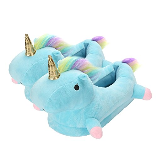 Homme Femme Licorne Hiver Bleu Animal Slippers Chaussons Unisexe Antidérapant Minetom Peluche Cartoon Pantoufles Chaussures Adulte Chaud xCq8nYwz